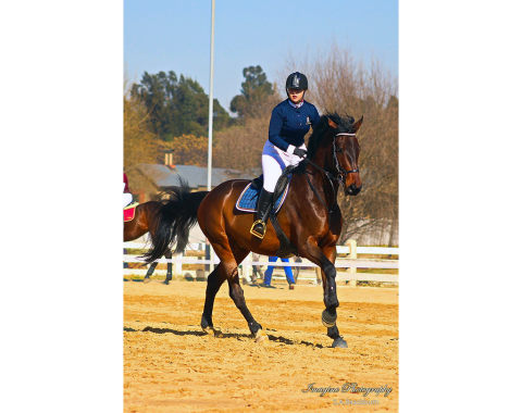 Owner Natascha Erasmus competing with her beautiful horse Almost Famous